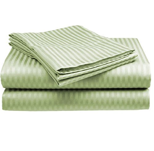 Big Save! ITALIAN 1500 Thread Count 100% Egyptian 4PC QUEEN Sheet Set, Striped SAGE GREEN