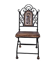 Shilpi Hand Made Wooden Iron Base Chair / Stool / Table