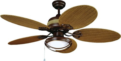 Yosemite Home Decor Tropical Breeze 48-Inch Ceiling Fan w/ Light Kit, Wet Locations