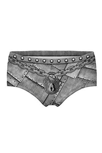 VamJump Women Sexy 3D Digital Print Chastity Belt Briefs Underwear Panties Grey