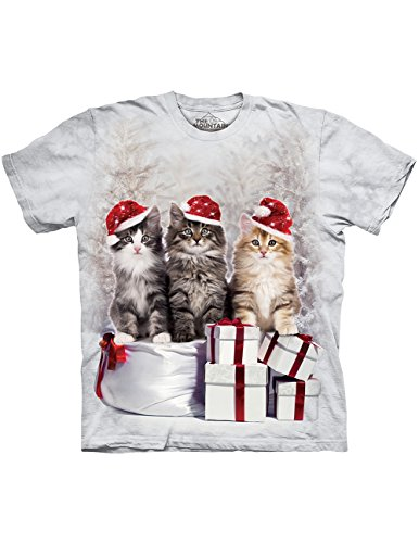 Presents Cats Gray T-Shirt Tie-dyed In Holiday Winter Colors