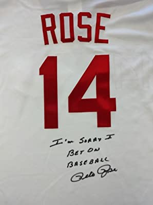 "Cincinnati Reds Pete Rose Autographed White Majestic Jersey ""i'm Sorry I Bet On Baseball"" Size L Psa/dna Stock #64954"