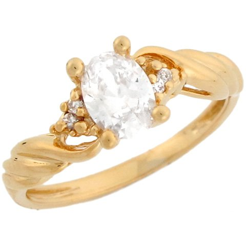 14k Real Yellow Gold Braided Oval CZ Ring with Round Accents