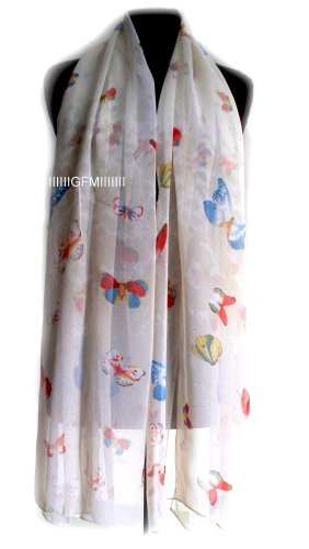 Butterfly Scarf (Colour: Off White) Lots of Small Butterflies Wrap Summer Scarf Shawl Stole (Code BFS Scarf)