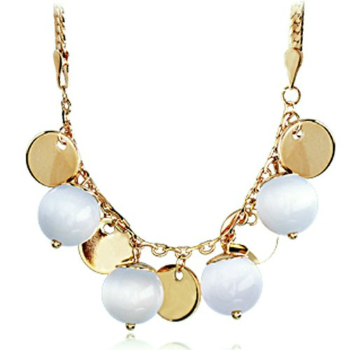 Chaomingzhen Charm 14k Gold Plated Opal Ball Necklace Fashion Jewerly for Women Wedding or Party