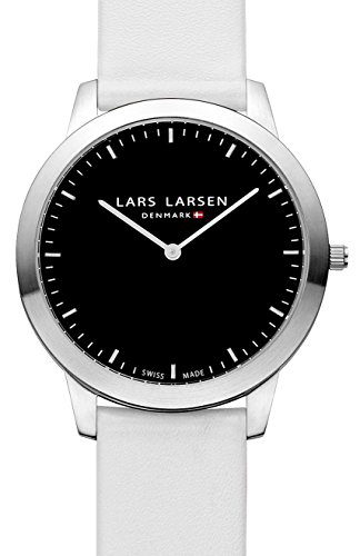 Lars Larsen Rene Unisex Quartz Watch with Black Dial Analogue Display and White Leather Strap 135SBWL