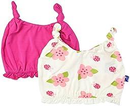 KicKee Pants Baby Girls Ruffle Double Knot Hat Set Prd-kprhs841s16d2-Conlb, Calypso/Natural Ladybug, Preemie