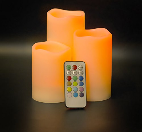 Zizz 24-7 Lighting FC3 candele senza fiamma, illuminate a LED, ideali per interni o esterni, per creare un' atmosfera perfetta, alimentate a batteria, con tecnologia che cambia colore, 100% sicure per bambini, animali domestici, tende e mobili