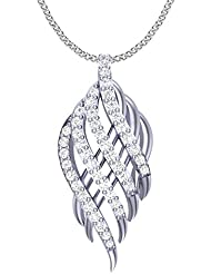 Clara Silvo 18K White Gold Plated Sterling Silver Esme Pendant With Chain For Women And Girls
