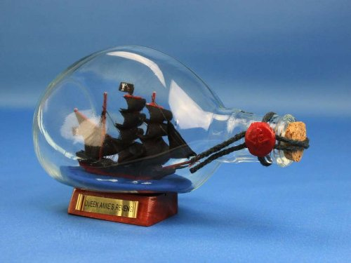 Blackbeard's Queen Anne's Revenge Pirate Ship in a Bottle 7 - Wooden Boat In A Bottle - Pirates Of The Caribbean - Brand New - Sold Fully Assembled - Not a Model Ship Kit