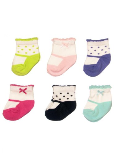 Carter's Hosiery Baby-girls Newborn Six Pack Mary Jane Comp Sock, Pink/Blue/Lime/Pink/Purple, 3-12 Months