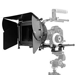 Flashpoint DV DSLR Matte Box Pro Complete Bundle 1 w/15mm Swingaway Arm, Flags & Side Wings, Rubber Donuts, Filter Stage & Tray, Base Plate, Quick Release Plate