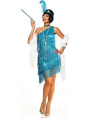 Dazzling Flapper Adult Costume Turquoise