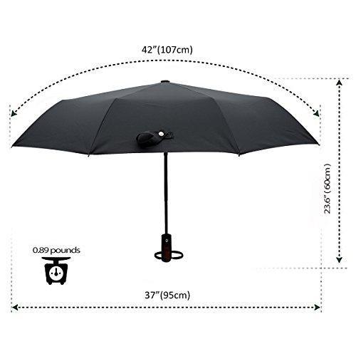 Winddicht Regenschirm,Leebotree Kompakt Reise/Outdoor Regenschirm mit einhändiger Auf-Zu-Automatik, Schirmdurch aus robusten 210T Stoff, transportabel (Grau) -