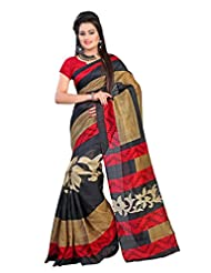 Vibes Women's Polyster Cotton Saree, With Blouse (S24-30_Black And Red)