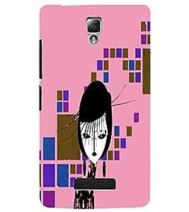 Fuson Square Pattern Girl Back Case Cover for LENOVO A2010 - D3976