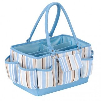 Little Boutique Organizer Caddy Blue, White, Khaki & Brown Striped (Large) front-999921