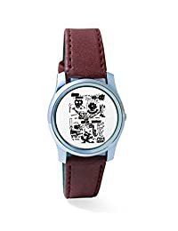 BigOwl Is It A Car Or A Cat Painting Analog Men's Wrist Watch 2114884536-RS2-S-BRW