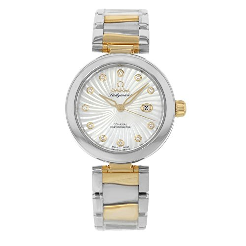 Omega DeVille Ladymatic Mother of Pearl Steel and 18kt Yellow Gold Ladies Watch 42520342055002 (Omega Gold Deville compare prices)