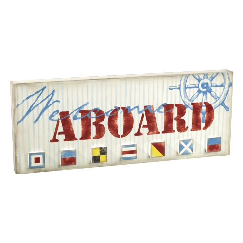 Grasslands Road Gift Boxed Wooden Welcome Aboard Sign, 5 By 14-Inch