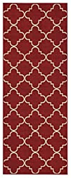 Anti-Bacterial Rubber Back LONG RUGS RUNNERS Non-Skid/Slip 3x10 Runner Rug | Red Moroccan Trellis Indoor/Outdoor Thin Low Profile Modern Home Floor Kitchen Hallways Colorful Decorative Rug