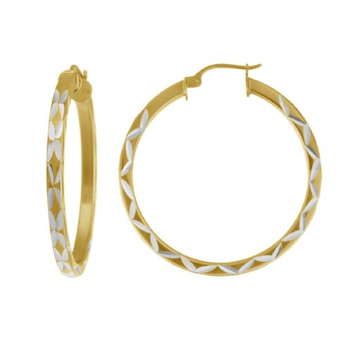 18k Yellow Gold Plated Sterling Silver Square Tube Hoop Earrings (1.97