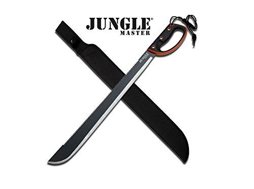 "Master Cutlery JM-024L Jungle Master 28"" Black Machete, Black Handle with Orange Rim"