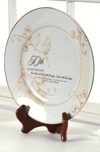 List Of 50th Wedding Anniversary Gifts : ... 50th Anniversary Plate Set with Stand - 50th Wedding Anniversary Gift