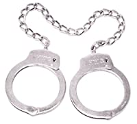"Official Police Security Corrections Jailer Jail Deputy Sheriff Officer Guard Nickel Plated STEEL Leg Cuffs Legcuffs Restraints SERIAL NUMBERED with 16"" Welded Chain"