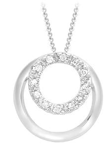"Carissima 9ct White Gold 0.07ct Diamond Circle Pendant on Curb Chain Necklace 46cm/18"""