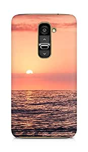 Amez designer printed 3d premium high quality back case cover for LG G2 (Sunset sea beach sky red)