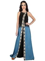 Black And Blue Hand Painted Kalamkari Cotton Long Tunic