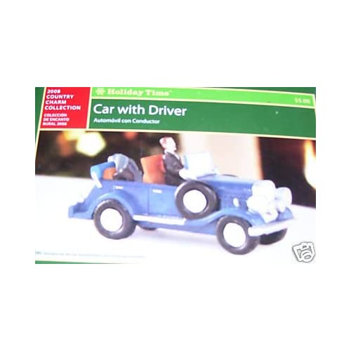 Holiday Time Car With Driver/Village Accessory/Christmas Village Piece/Country Charm Collection