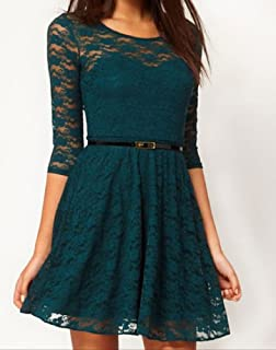 Ostart Sexy Lady Lace 3/4 Sleeve One-piece Dress (8, Dark Green)