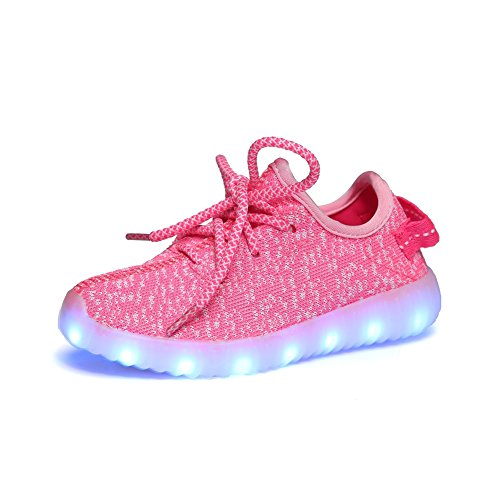 iBaste-Nios-Zapatos-de-Moda-Zapatos-Casuales-Zapatos-de-Coco-Luminosos-LED-Recargable-Colores-Rosa