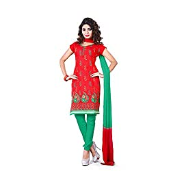 Vardhman Synthetics Women's Embroidered Unstitched Dress Material (Red_Free Size)