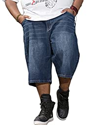 Sexyggs Men\'s Plus Size Washed Demin Dark Blue Cargo Jeans Shorts