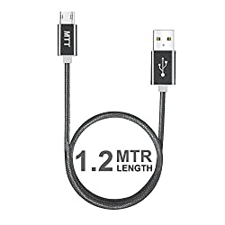 MTT® Nylon Braided Tangle Free Metal Connector Dual Side Reversible Micro USB Cable (1.2M, Grey)