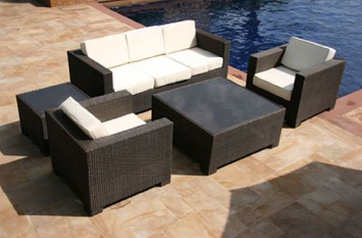 Outdoor Patio Sofa Sectional Wicker Furniture 5pc Resin Couch Set picture