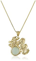 """18k Yellow Gold over Sterling Silver Green Jade Dragon Pendant Necklace, 18"""""""