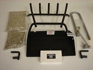 "Natural or LP Gas Fireplaces - 24"" Vented Gas Log Dual Burner Fireplace Hearth Set Kit BVDR24"