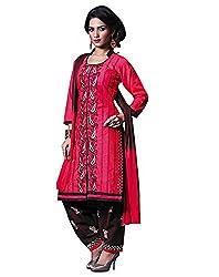 Rudra Textile Women's Magenta Cotton Punjabi Suit