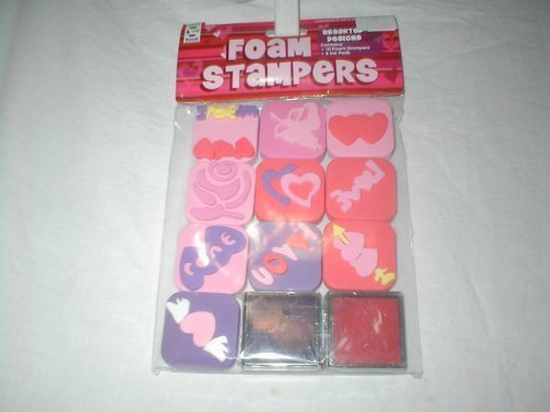 10 Foam Assorted Designs Foam Stampers with 2 Ink Pads in Black and Red - 1