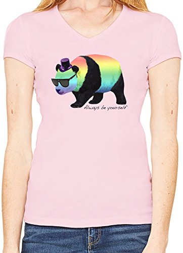 Always Be Yourself Panda T-Shirt V collo Donne XX-Large