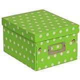 JAM Paper® Decorative Storage Box - 6 3/4 x 8 5/8 x 5 1/8 - Lime Green & White Polka Dots - Sold Individually