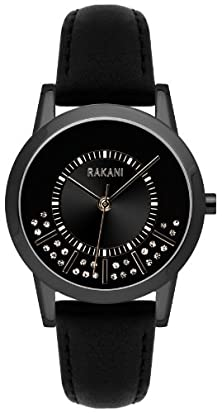 buy Rakani Stuck In Traffic 32Mm Swarovski Crystals Watch With Black Steel Case And Leather Band