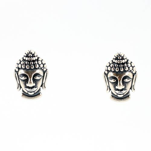 Small Detailed Buddha Post Earrings in Sterling Silver, #7436