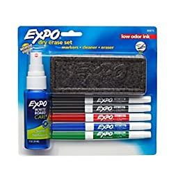 EXPO2 Low-Odor Dry-Erase Starter Boards Kit, Fine-Point, 5 Markers, Black (2), Red, Blue, Green
