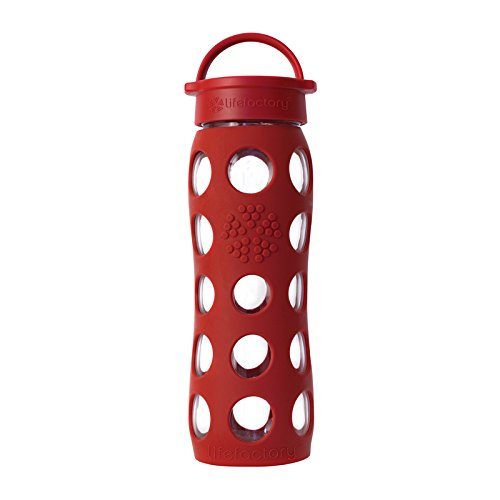 Lifefactory 22-Ounce Glass Bottle with Classic Cap and Silicone Sleeve, Red