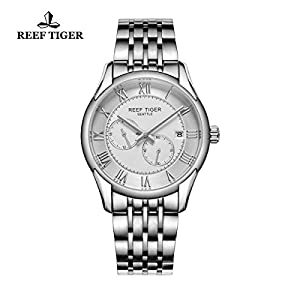 Reef Tiger Business Watches Date Four Hands Stainless Steel White Dial Watch RGA165